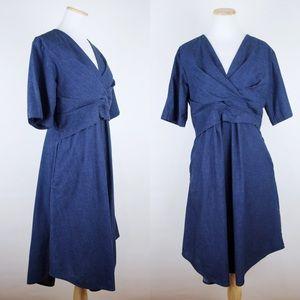 COS Dark Indigo Denim Chambray Dress Wrap Front